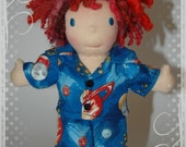 Two piece Flannel pajamas made to fit the Waldorf  8 inch style dolls