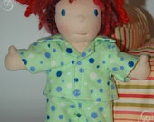 Two piece Flannel pajamas made to fit the Waldorf 7- 8 inch style dolls