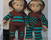 """Knit pants and hoodie set made to fit the Bitty Twin 15"""" dolls or similar sized dolls"""