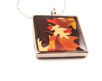 Upcycled Jewelry, Recycled Necklace, Resin pendant, Autumn