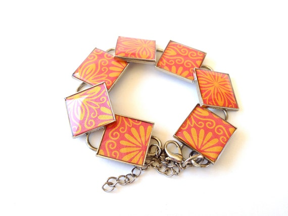 Recycled Jewelry, Resin Jewelry, Gift card Jewelry, Custom Bracelets (Orange Flowers)