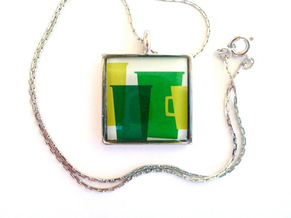 Upcycled Jewelry, Recycled Jewelry, Resin Jewelry, Custom Pendant (Green cups)