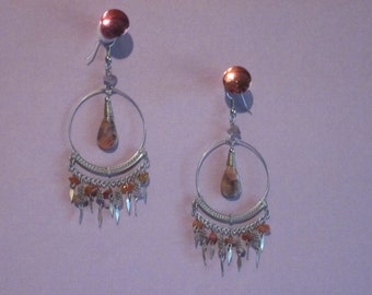 Gypsy Hippie Earrings, Vintage, mint condition, 60's Earring Jewelry, Boho Dangle Shoulder Dusters