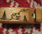 Mahogany Whistle With Cabin Woodburning
