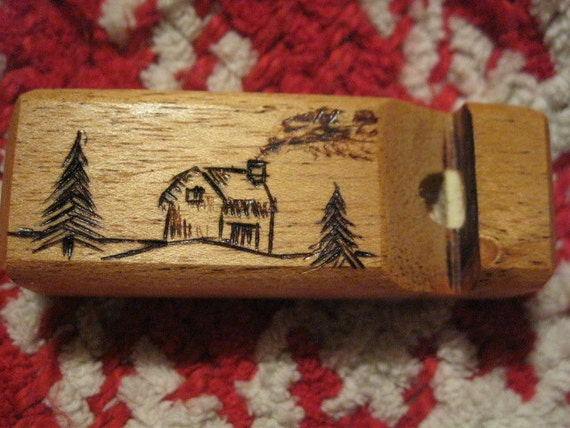Mahogany Whistle With Cabin Woodburning