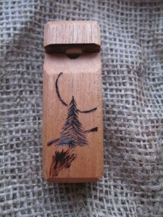 Mahogany Whistle With Tree Woodburning