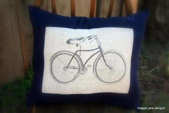 Vintage Bicycle Graphic Toss Pillow in Linen & Navy Blue
