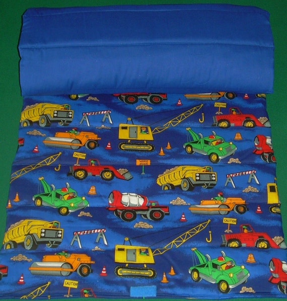 Childrens Construction Trucks Roll Up Nap Mat
