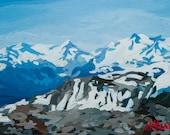 "Garabaldi Peak - 12"" x 8"" - Original Acrylic Painting on Paper"