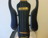 Hand Carved Electric Bass Guitar in Dark Blue with Handcrafted Pickup and Unique Separated Body