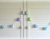 Pastel felt hearts banner/ garland/ bunting - Purple, blue and green - MADE TO ORDER