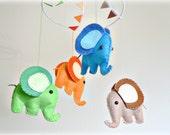 Elephant mobile - baby mobile - Nursery decor  - green, blue, orange, brown - baby crib mobile - MADE TO ORDER