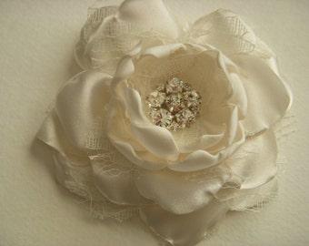 Hair Clip - Cream Satin and Lace - 3 inch Flower - With Rhinestone Center, Fabric Hair Flower, Wedding Flower, Wedding Hair, Hair Clip