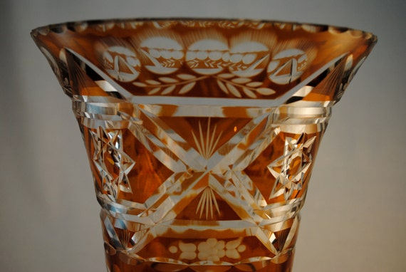 VIntage Mid Century Cut to Clear Orange Glass Vase