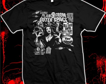 Plan 9 from Outer Space - Ed Wood - Vampira - Bela Lugosi - Tor Johnson - Pre-shrunk, hand screened 100% cotton t-shirt