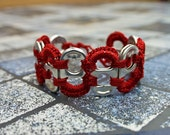 Dark Red Pop Tab Upcycled Crochet Bracelet
