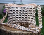 Unique Peach Upcycled Crochet Long Strap Pop Tab Bag