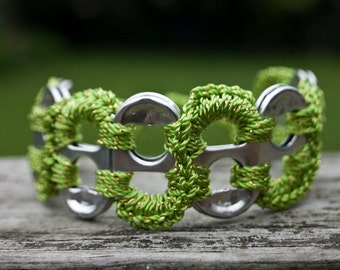 Citrus Green and Gold Pop Tab Upcycled Crochet Bracelet