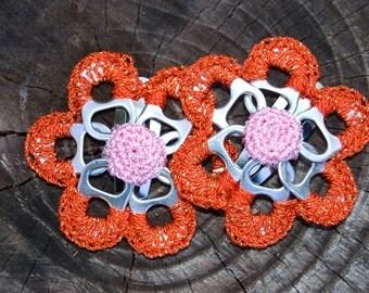 Tangerine & Gold Pop Tab Upcycled Crochet Flower Barrette (2)