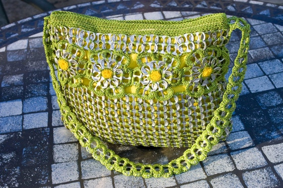 Upcycled Citrus Green with Gold Crochet Pop Tab Purse