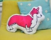 Corgi Decorative Pillow - Screen Printed - Magenta with Polka Dot Pattern on Back