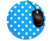 Mouse Pad, Computer Mouse Pad, Fabric Mousepad White Polka Dots on Turquoise