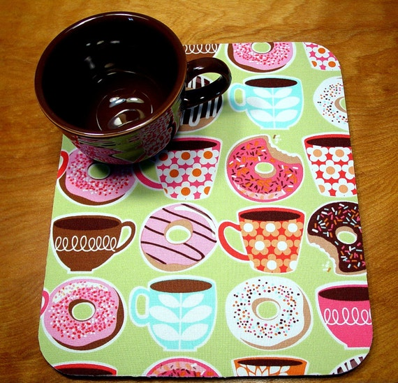 MousePad Hot Pad Michael Miller Coffee Doughnuts With Matching Coaster