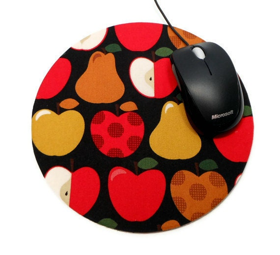 Computer Mouse Pad Mousepad Apples with Matching Coaster