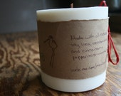 Natural Soy pillar Holiday Candle with Cinnamon & Peppermint essential oils