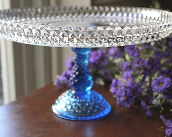 "Vintage Cake Stand in Royal Blue / 12"" Wedding Glass Cake Stand / Cake Plate / Pedestal for Cupcakes Truffles Macarons / Cobalt Blue -ish"