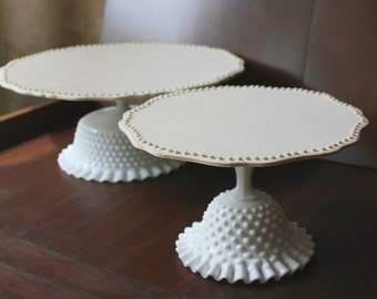 "White Cake Stand for White Weddings / 14"" Cake Stand / Cake Plate Pedestal / Vintage Cake Stands for Vintage Weddings by The Roche Studio"