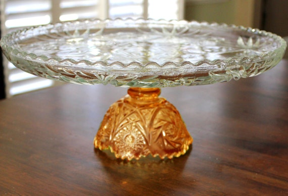 "14"" Gold Cake Stand / Glass Cake Stand / Wedding Cake Pedestal / Vintage Crystal Glass Cake Plate Pedestal / Cupcake Stand in Golden Amber"
