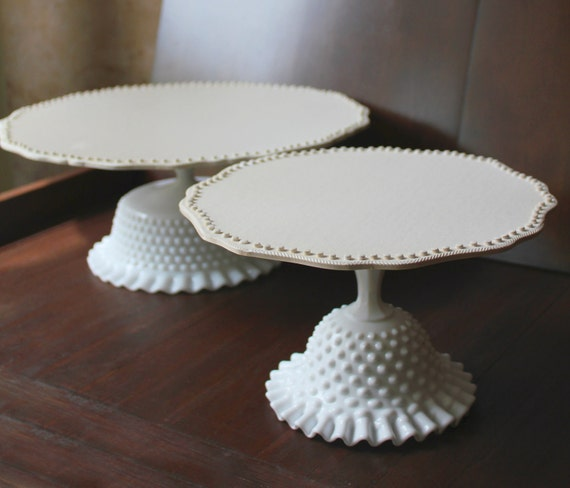 """White Cake Stand for White Weddings / 14"""" Cake Stand / Cake Plate Pedestal / Vintage Cake Stands for Vintage Weddings by The Roche Studio"""