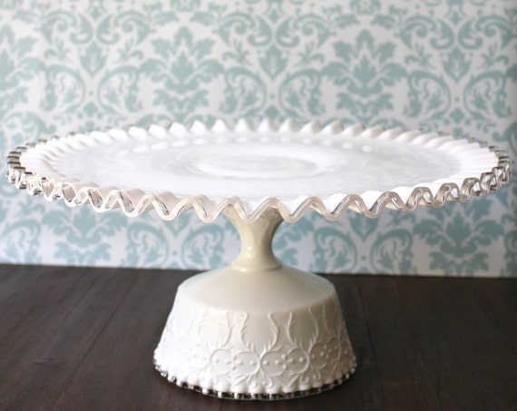 "Milk Glass Cake Stand / Milk Glass Cake Pedestal / 12"" Wedding Cake Stand for Vintage Milk Glass Weddings"