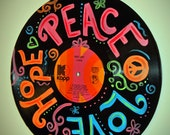 Hand Painted Cher Record Album - Teen Room Recycled Art - Peace Love Hope