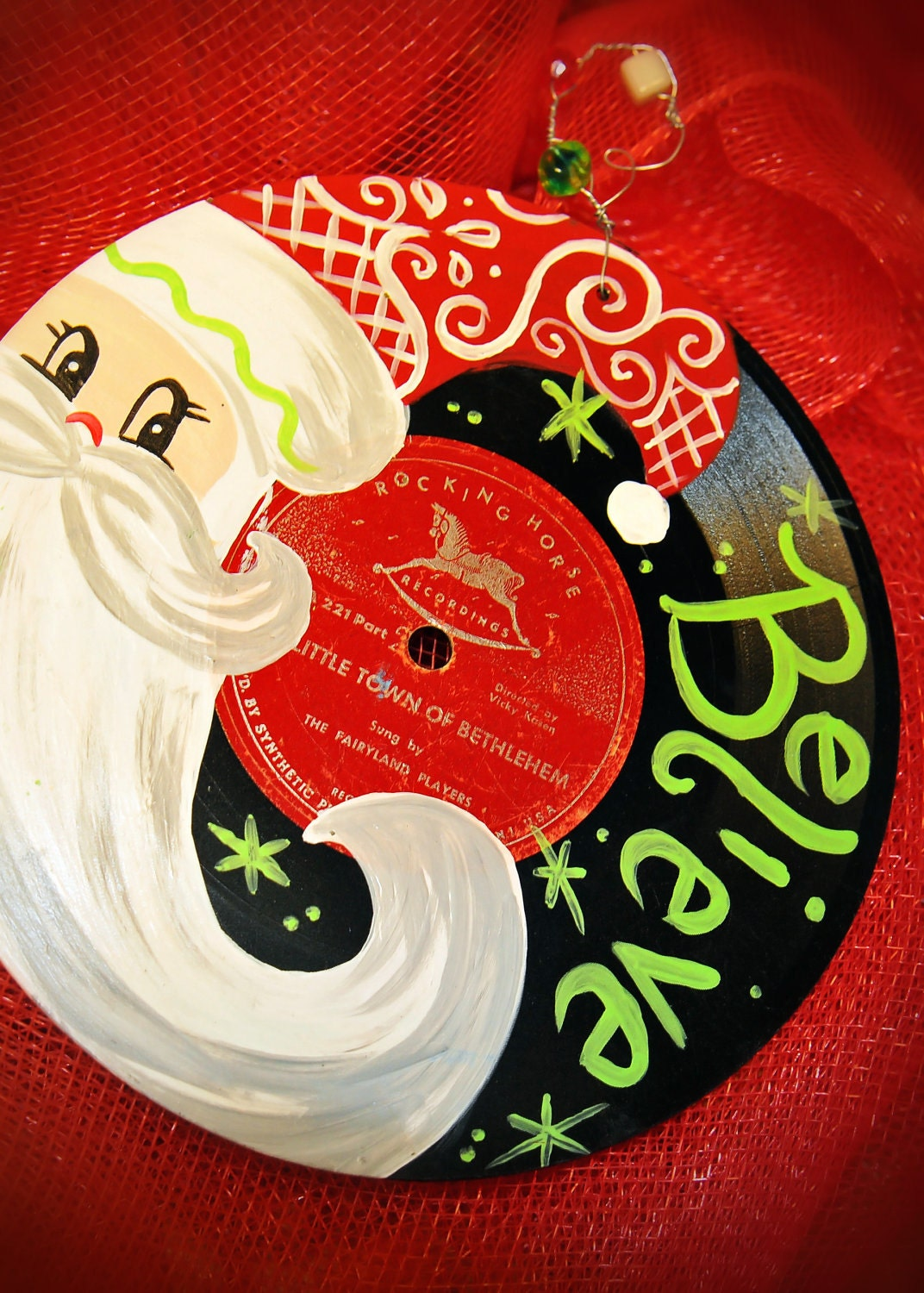 Hand Painted Vintage Christmas Record Santa Claus
