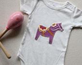 Organic Baby Onesie Dala Horse Bodysuit Romper Applique in White, Natural or Pink Short Sleeve