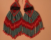 Gorgeous Soft Pink and Robin's Egg Colored Native American Style Beaded Earrings
