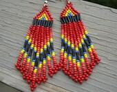 Fiery Red Native Beaded Earrings
