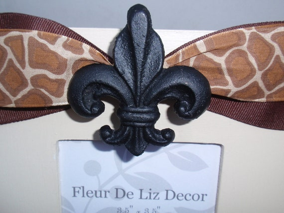 "Fleur De Lis Small 3.5"" x 3.5"" Photo, Picture Frame in Tan with Black Fleur De Lis Knob - Brown Giraffe Animal Print Ribbon"