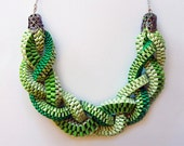 Ribbon Necklace- Braids Tropical Green