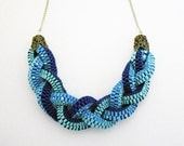 Ribbon Necklace- Braids Sea Breeze