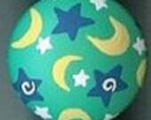 Handpainted Funky Moon and Stars Artisan Cabinet Knob, U-Chooz How Many