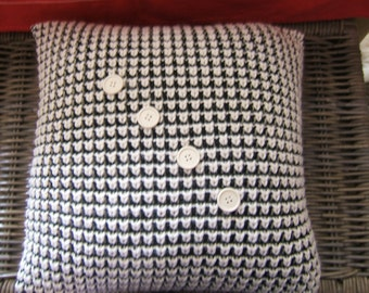 Knitted  Cushion / Pillow / Black / Ivory / Square.