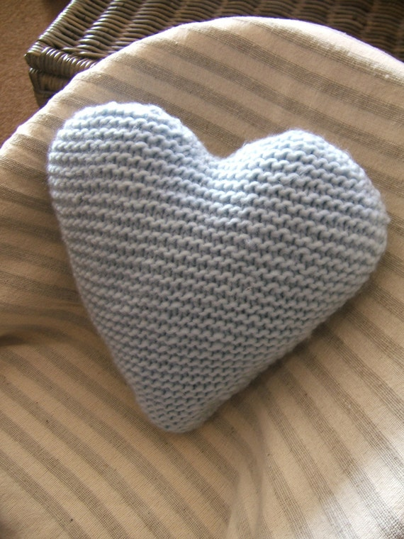 Knitting Pattern Heart Cushion : Hand Knitted Heart Cushion / Pillow / Medium / Woollen