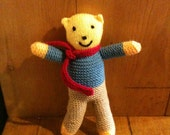 Hand Knitted Charity Teddy - ALL proceeds are donated to Macmillan Cancer Support