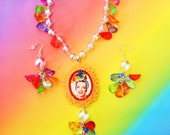 Carmen Miranda Swarovski Crystal Lucite Necklace and Earring Set