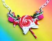 Christmas Holiday Snow Flake Peppermint Lollipop Swarovski Crystal Bib Necklace