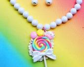 Swarovski Lollipop Pendant Necklace and Earring Set
