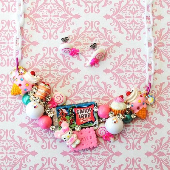 Swarovski Crystal Candy Land Bib Necklace and Earring Set